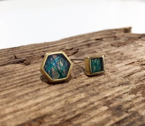 Image of SeaResin Hex Post Earrings