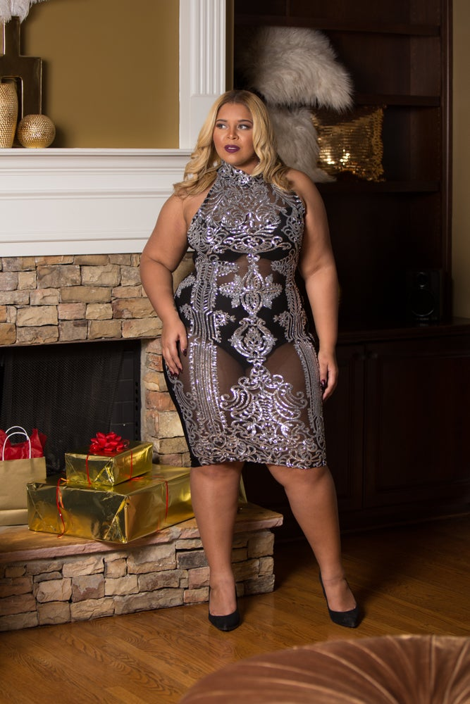 Image of 'RAVI' BLACK AND SILVER SEQUINNED DRESS