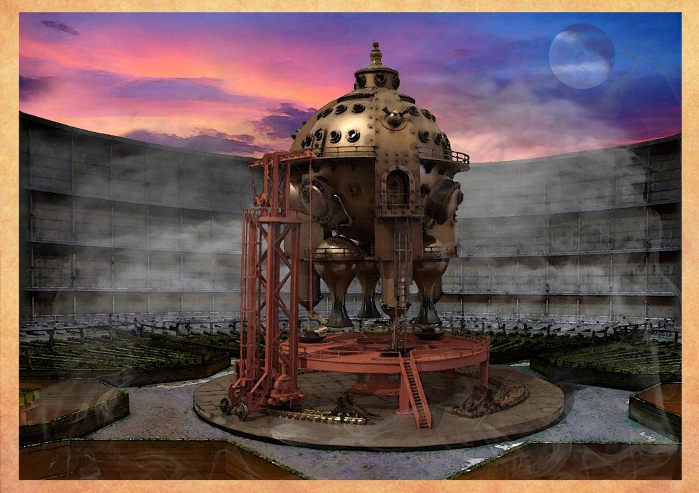 "Image of Herr Döktor's Laboratory Postcard No. 2- ""The Celestial Sphere BRITANNIA"""