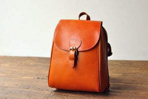 Image of Women's Handmade Leather Small Backpack / Day Pack / Satchel (m16)