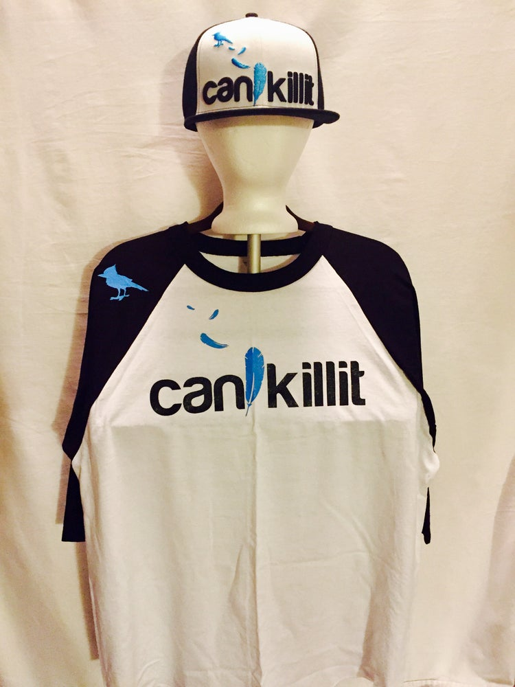 "Image of BLUEBIRD SNAPBACK ""CAN I KILL IT"" (BLK/WHT)"