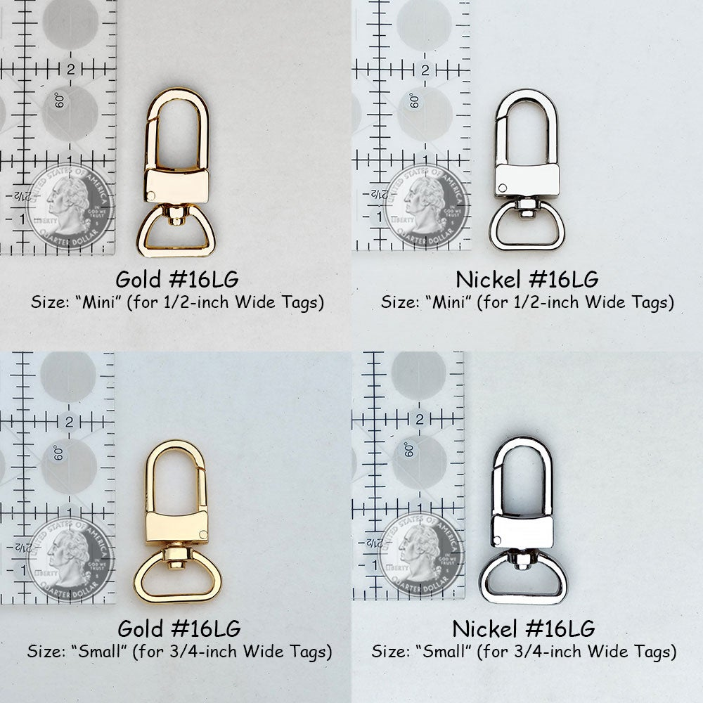 Image of NEW! Clips for Bag/Luggage Tags - Two Sizes - Gold or Nickel - Attachable #16LG - Handbag Accessory