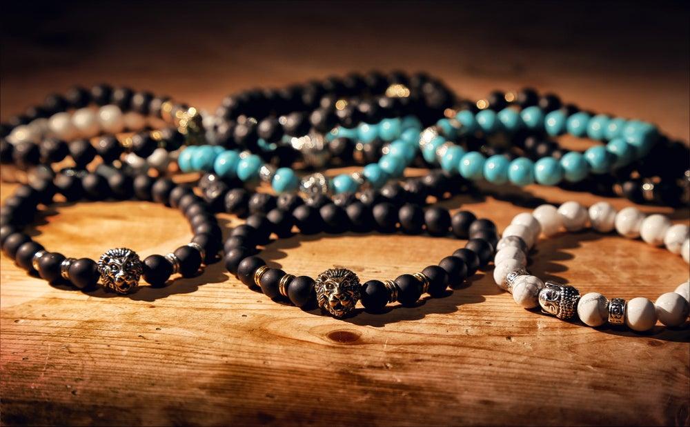 Image of Lava Stone - Gold Lion Head Bracelet