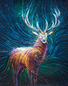 Image of The Red Stag Energy Painting - Giclee Print