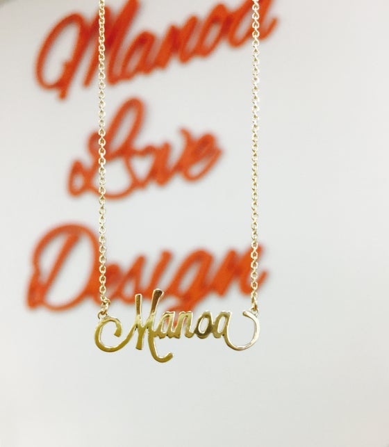 Image of Manoa Love Design/ 14K Solid Gold Custom Order Name Necklace