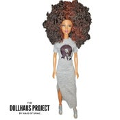 Image of Soul Sista | Big Afro Hair Doll In Grey Dress