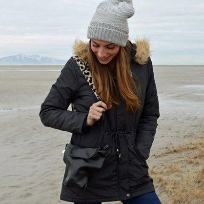 Image of Camera Bag Photographer Travel Gift SET | Black Leatherette Camera Coat + Soft Leopard Strap!