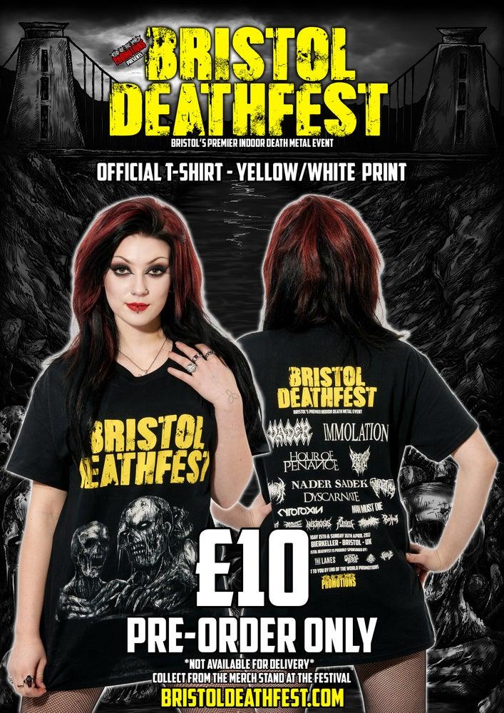 Image of BRISTOL DEATHFEST OFFICIAL T-SHIRT - YELLOW/WHITE PRINT