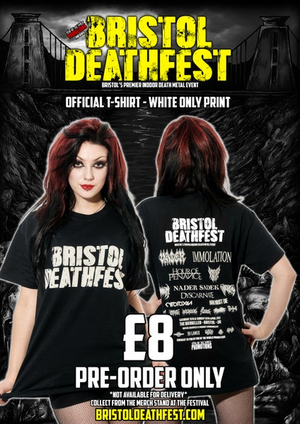 Image of BRISTOL DEATHFEST - OFFICIAL T-SHIRT - WHITE ONLY PRINT