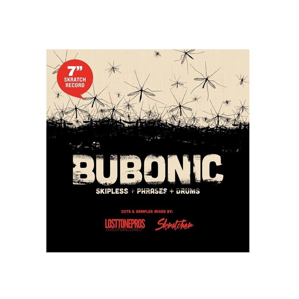 Image of BUBONIC BREAKS - Skratcher x Lost Tone Pros 7' (WHITE COLOR VINYL)