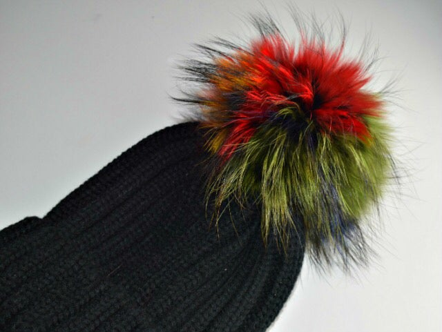 Image of Fur Racoon 'Single' Pom Pom Hats - Multicolour