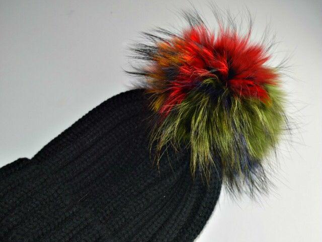Image of Fur Racoon 'Single' Pom Pom Hats - Multicolour