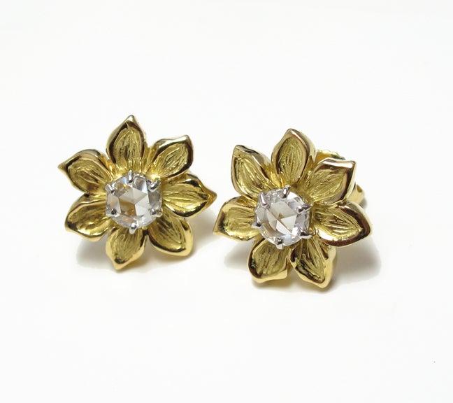 Image of Fleur White Rose Cut Diamond Earring
