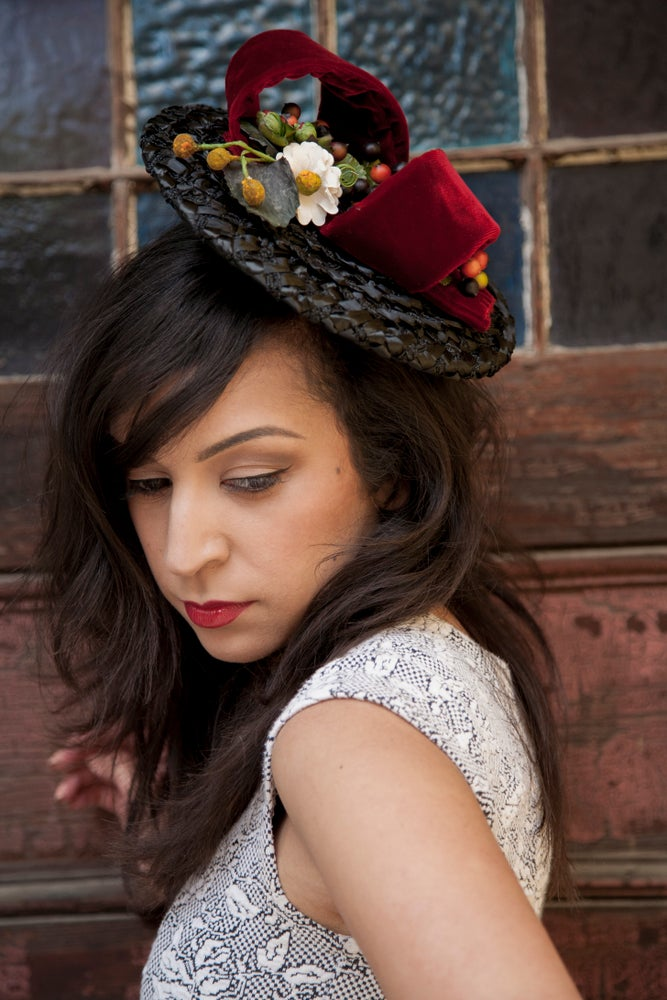 Image of Tutti Fruitti -- 1940s Style Straw Tilt Hat with Vintage Velvet Bow and Fruit Cluster