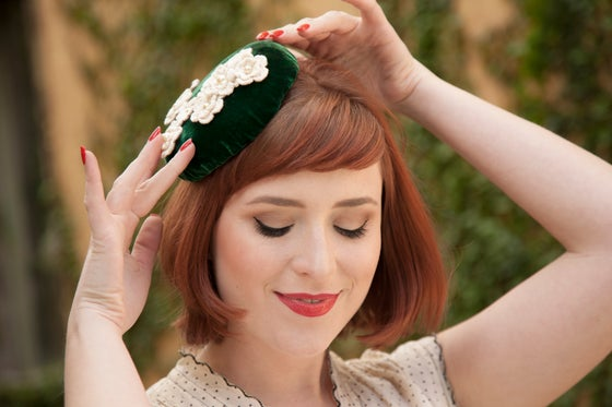 Image of Irish Blossoms -- Pillbox of Vintage 60s Green Velvet with Vintage Crochet Flowers and Pearls