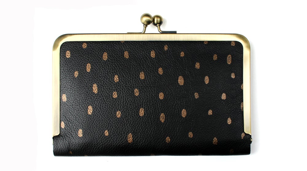 Image of Hold All Hand Painted Leather Wallet in Black with Bronze Spots