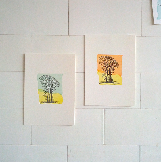 Image of A6 Winter Tree letterpress print