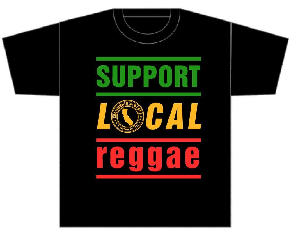 Image of SUPPORT LOCAL REGGAE CLASSIC BLACK SHIRT