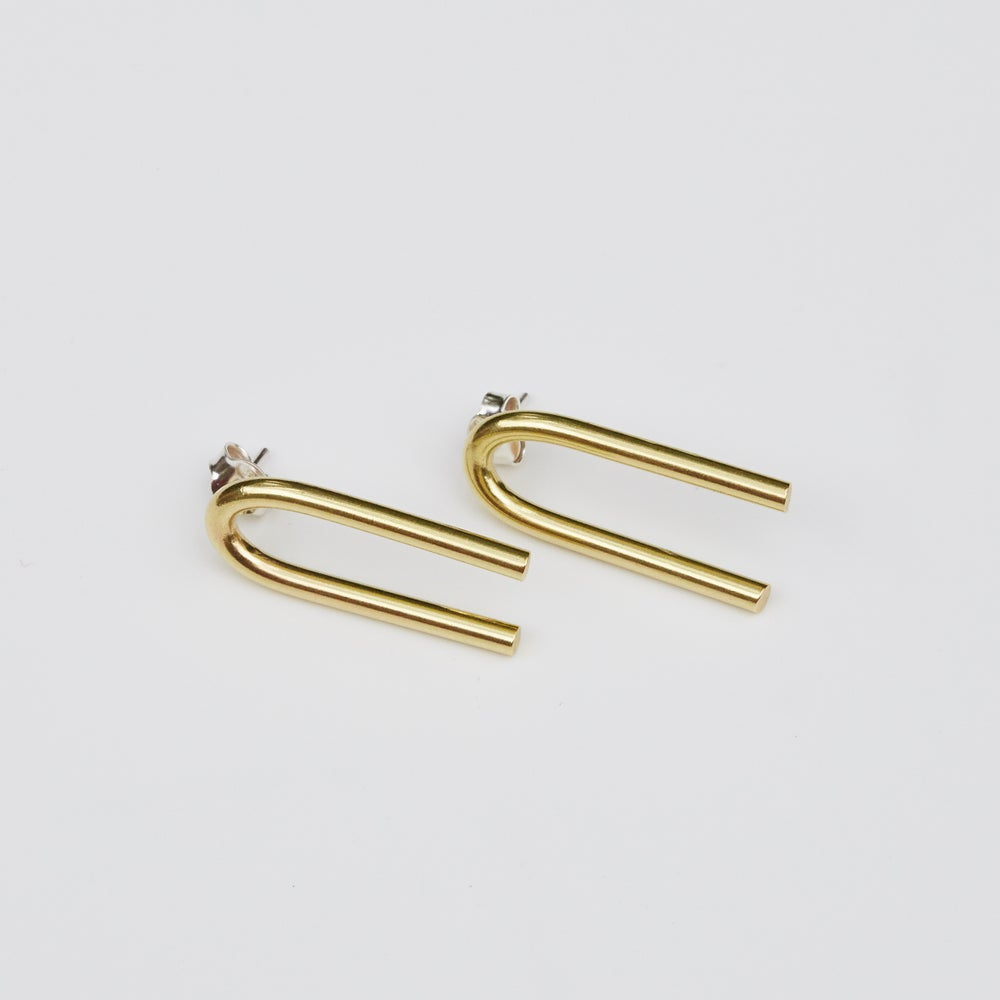 Image of Long Inverted U Studs - Brass and Silver