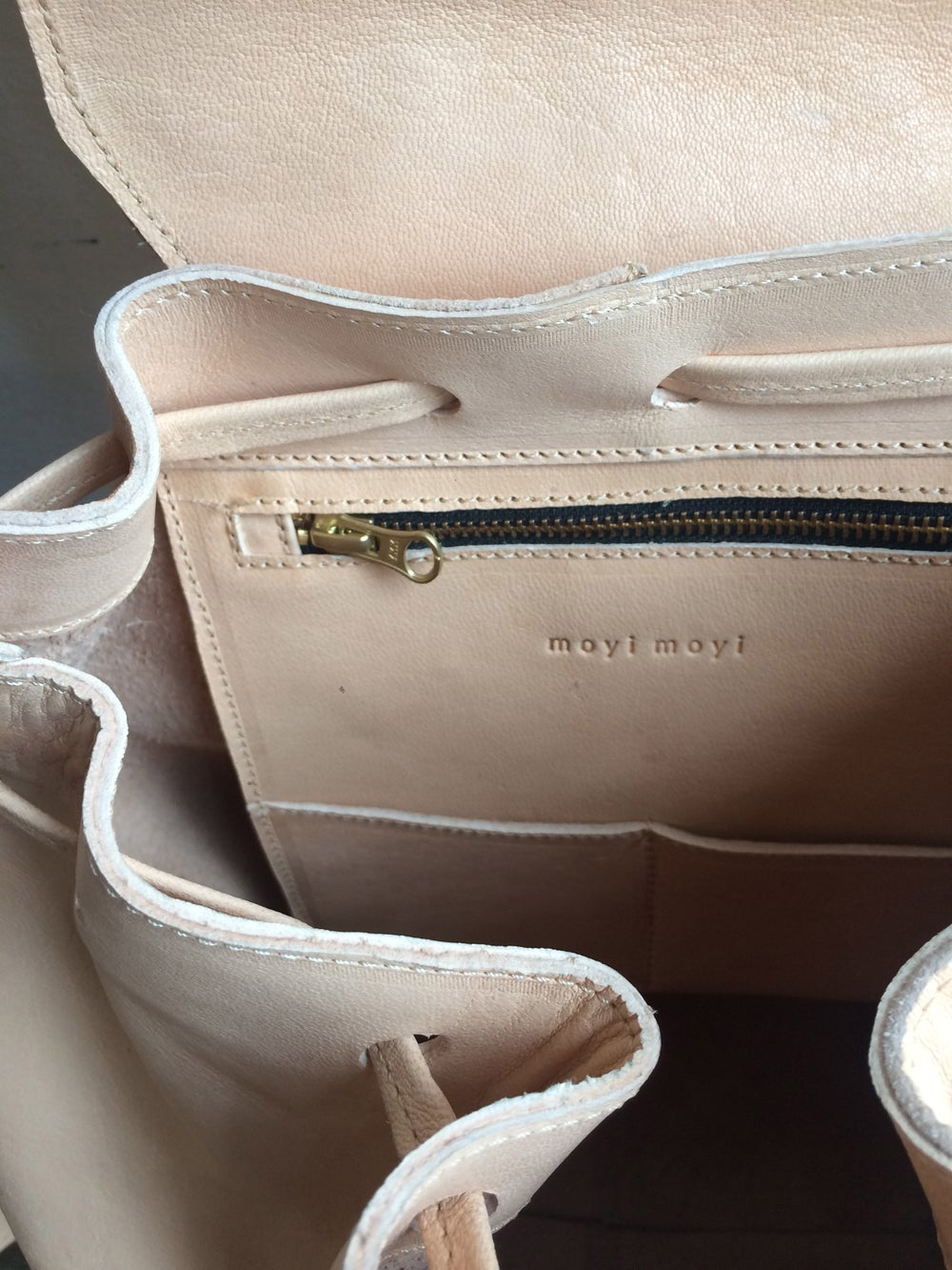 Image of Moyi Moyi Nude Leather Backpack