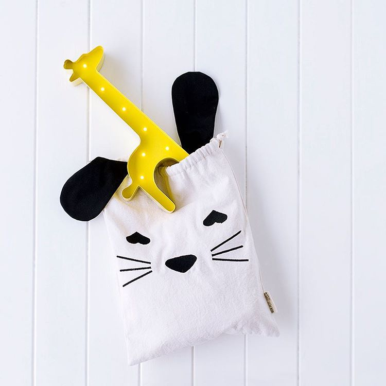"Image of Pochon brodé coton naturel ""Bunny"" / Embroidered cotton bag"