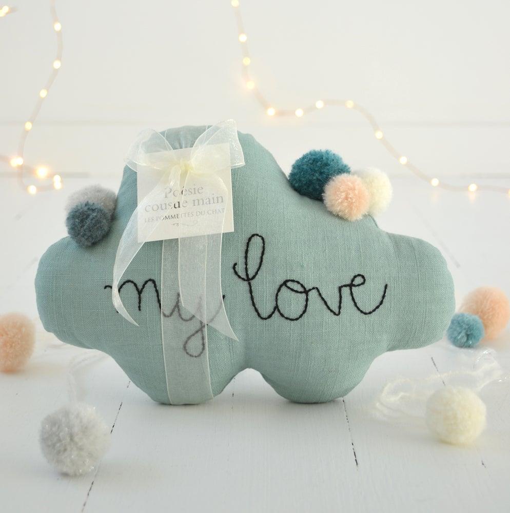 les pommettes du chat nuage my love bleu c ladon. Black Bedroom Furniture Sets. Home Design Ideas