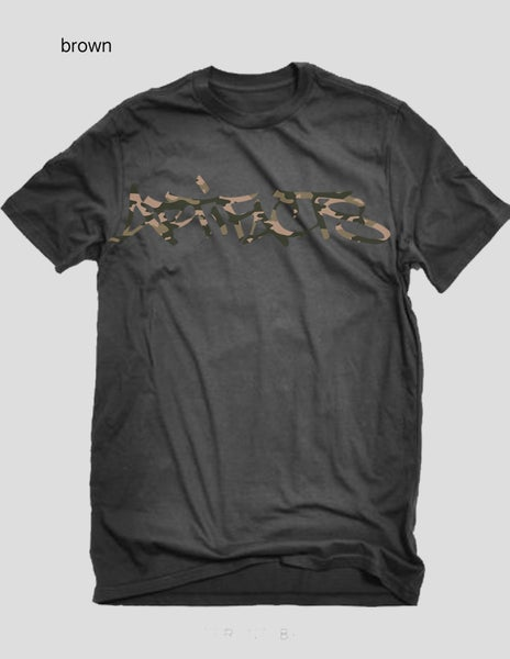 Image of  ARTIFACTS CAMO Signature tag logo tee (brown)   ( preorder ships 1-16-17)