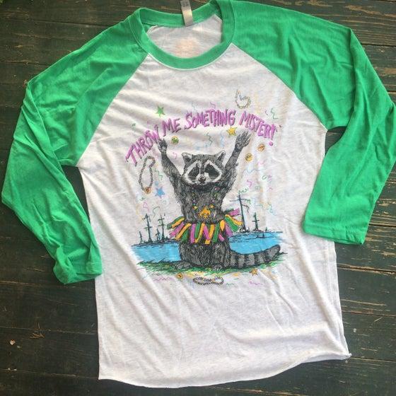 Image of Adult Mardi Gras Raccoon Raglan with GREEN Sleeves