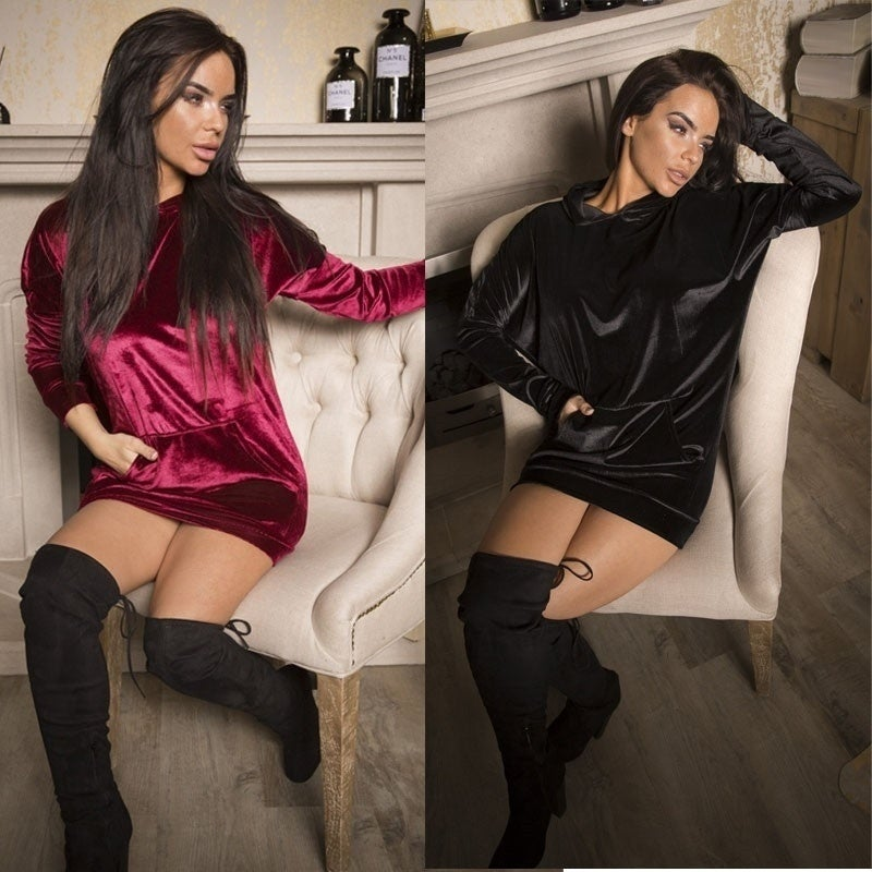 Image of Women's Velvet Hoodie - Midnight Black