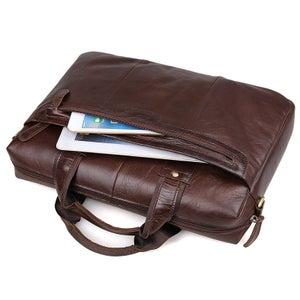 "Image of Handmade Antique Leather Briefcase / Messenger / 11"" 13"" MacBook or 13"" 14"" Laptop Bag (n58)"