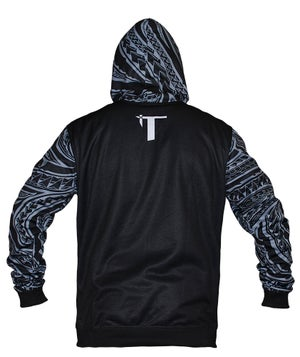 Image of Tatau Dri-Tech Hoodie Black/Grey Sport Fit