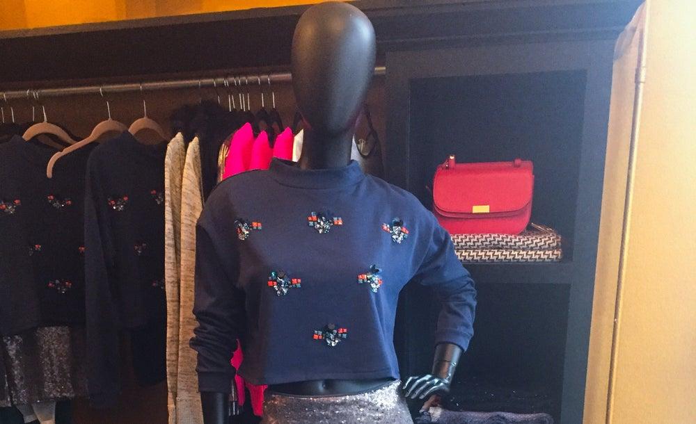 Image of Crop Navy Sweatshirt