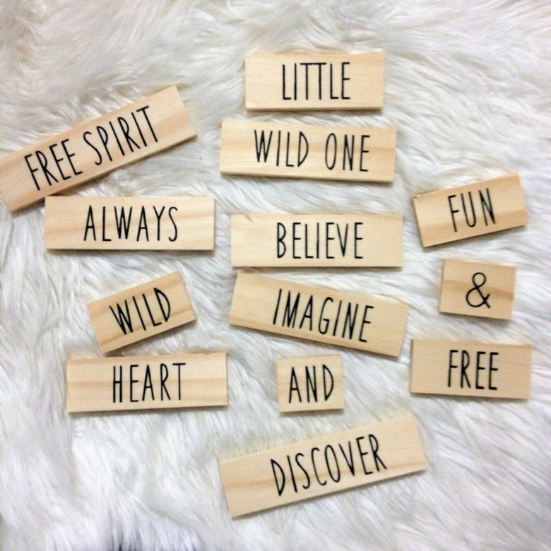Image of Perfect for Flatlay - Word Tiles set of 26 words - only 1cm thick