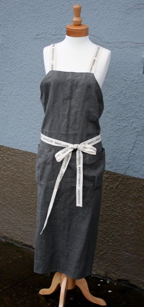 Image of Grey Linen Bib Apron