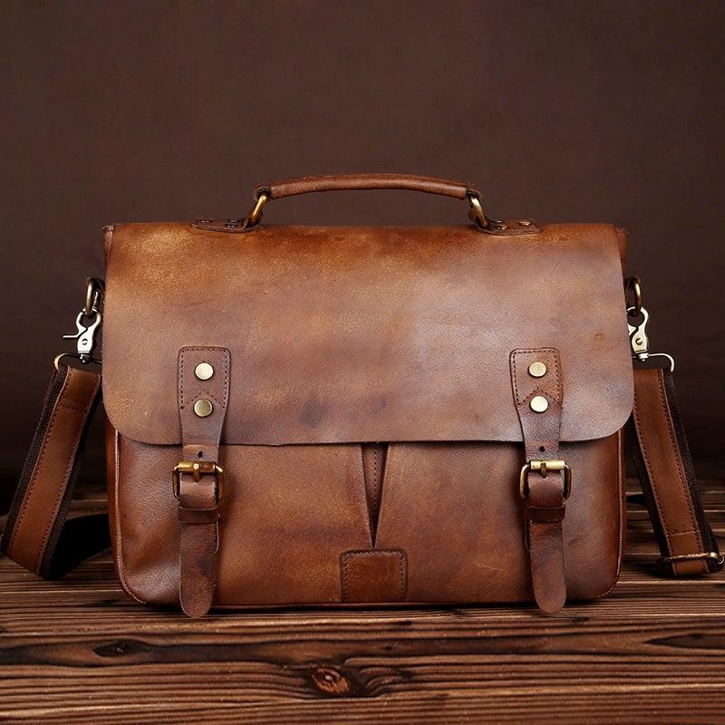 """Image of Handmade Vintage Leather Briefcase / Messenger Bag / 11"""" 13"""" MacBook 13"""" Laptop Bag (n28)"""
