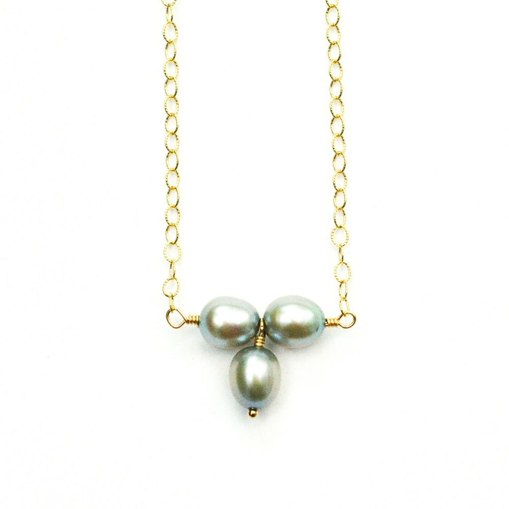 Image of Gray freshwater cultured pearl necklace trio 14kt gold-filled