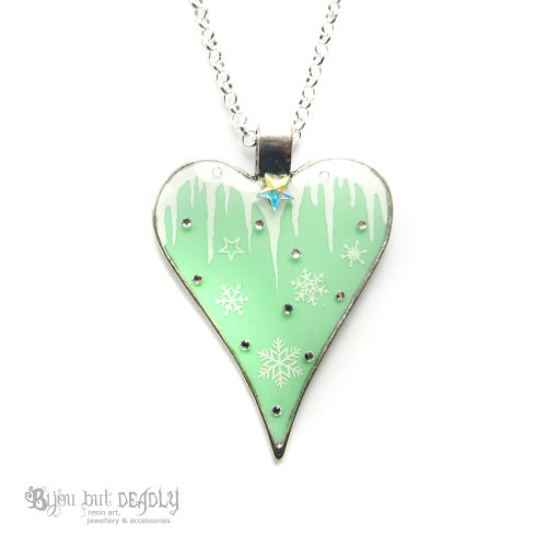 Image of Icicle & Snowflake Heart Pendant