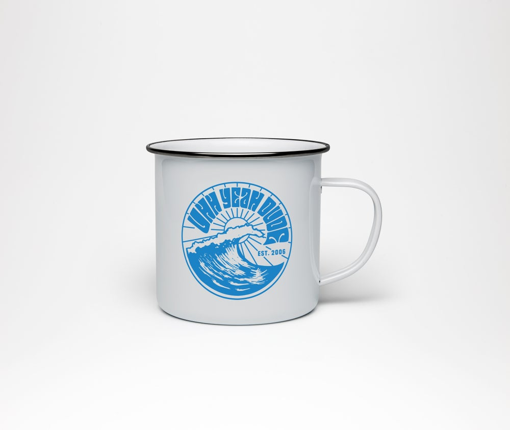 Image of BLUE WAVE LOGO ENAMEL MUG