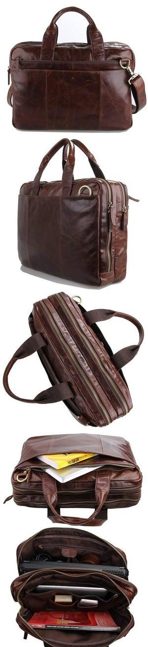 "Image of Handmade Vintage Leather Briefcase / Messenger / 13"" 15"" MacBook 13"" 14"" Laptop Bag (N71B)"