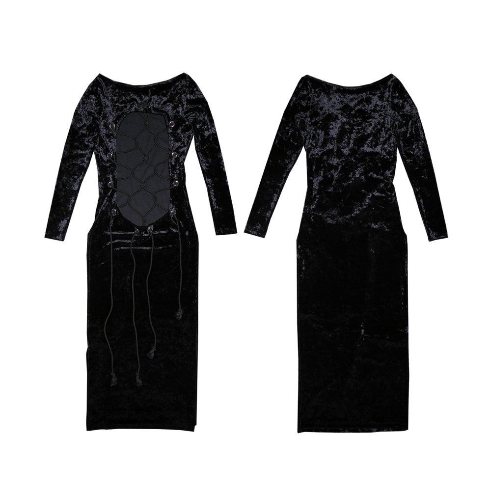 Image of DVMVGE TOKYO X' Black Shibari Velvet 2way Dress