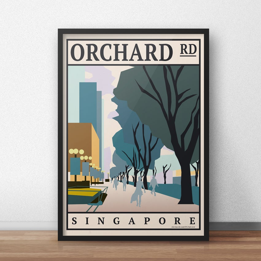 Image of Orchard Road Vintage Travel Poster