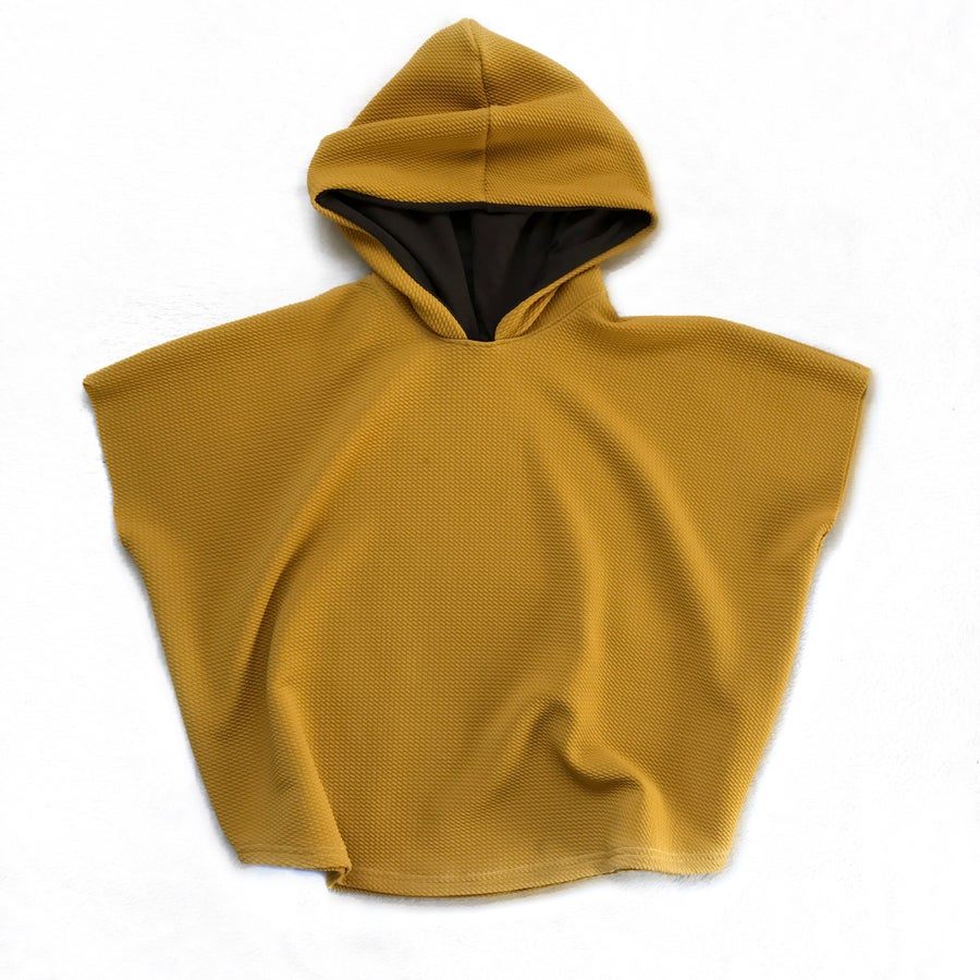 """Image of """"Hood Vibrations"""" Hooded poncho in MUSTARD"""