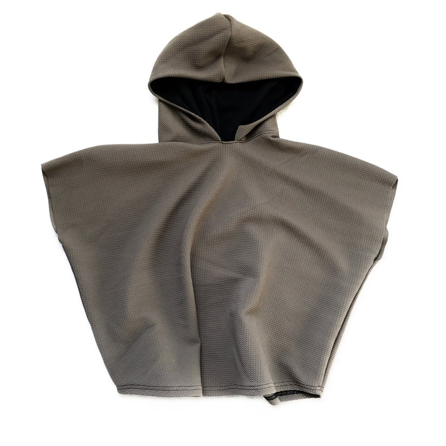 """Image of """"Hood Vibrations"""" Hooded poncho in TAUPE"""