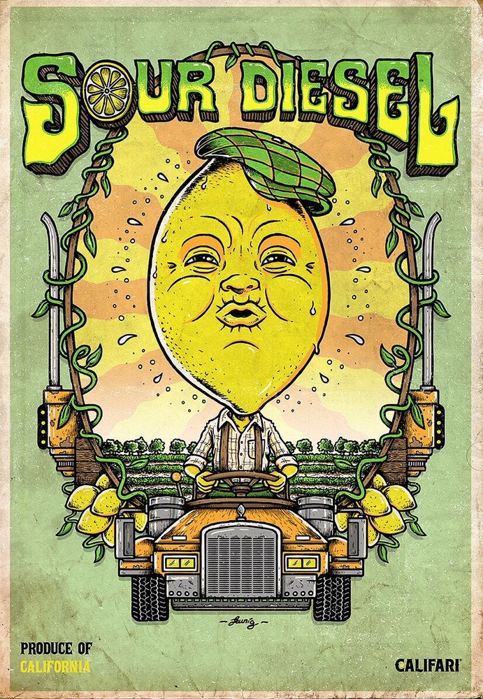 "Image of ""Sour Diesel"" - CaliFari print.. lithograph & screenprint"