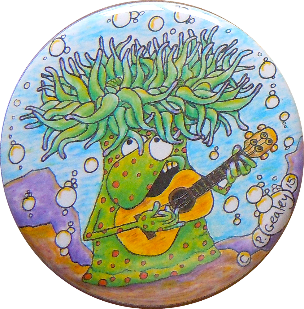 Image of Sea anemone playing Ukulele magnet/pin