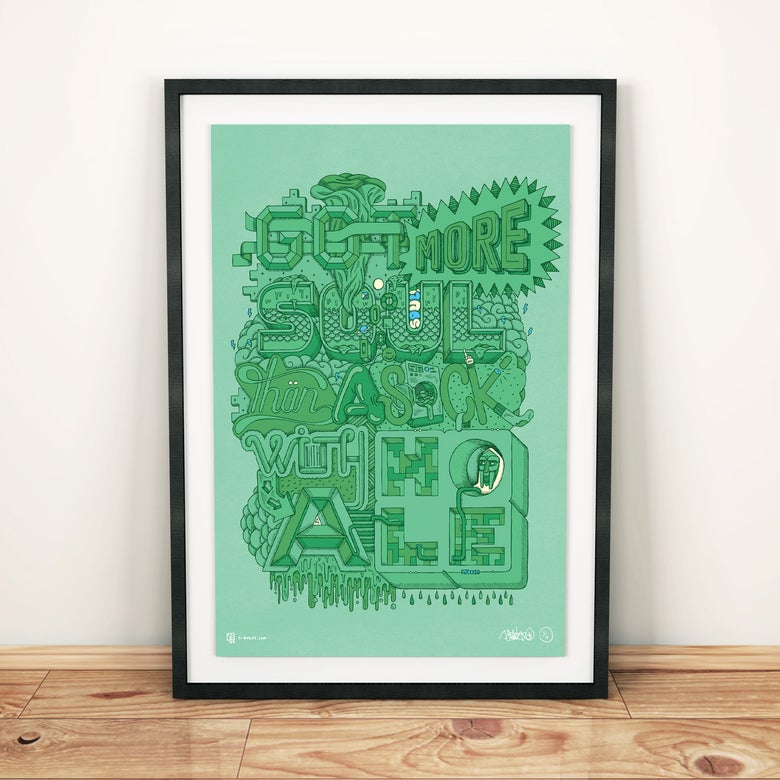 "Image of ""GOT MORE SOUL THAN A SOCK WITH A HOLE"" (Limited Edition) A3 MF DOOM Print"