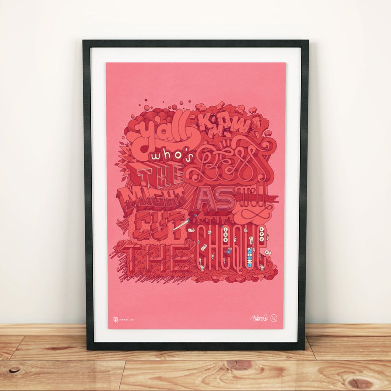 "Image of ""Y'ALL KNOW WHO'S THE BEST, MIGHT AS WELL CUT THE CHECK"" (Limited Edition) A3 MF DOOM Print"