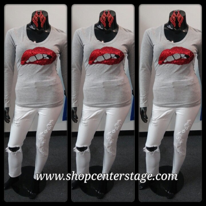 Image of red lips long sleeve