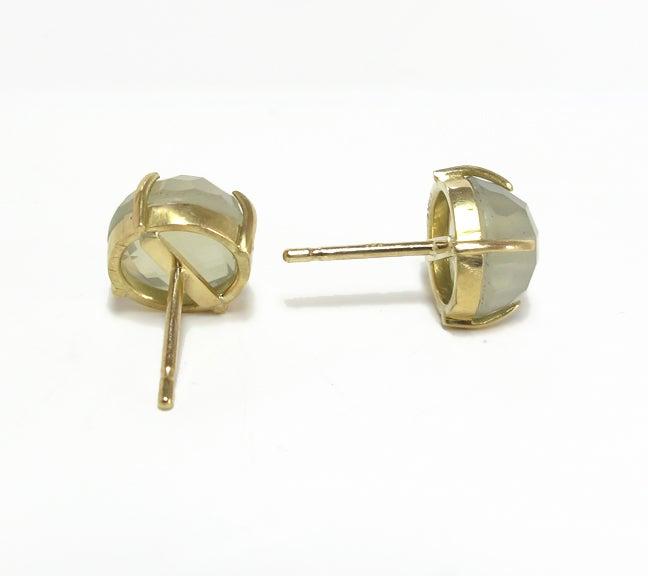 Image of Faceted Moonstone Stud Earrings 18ky