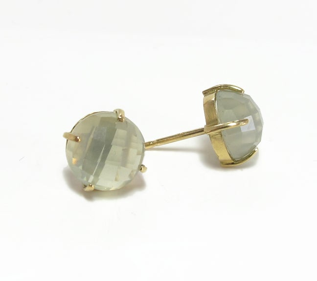 Image of Faceted Moonstone Stud Earrings 18ky
